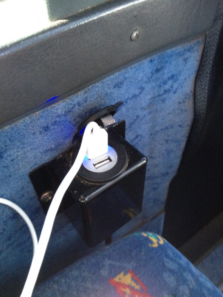 USB charging port on Greyhound bus